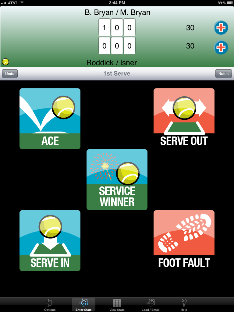 Serving screen for My Tennis Stats HD