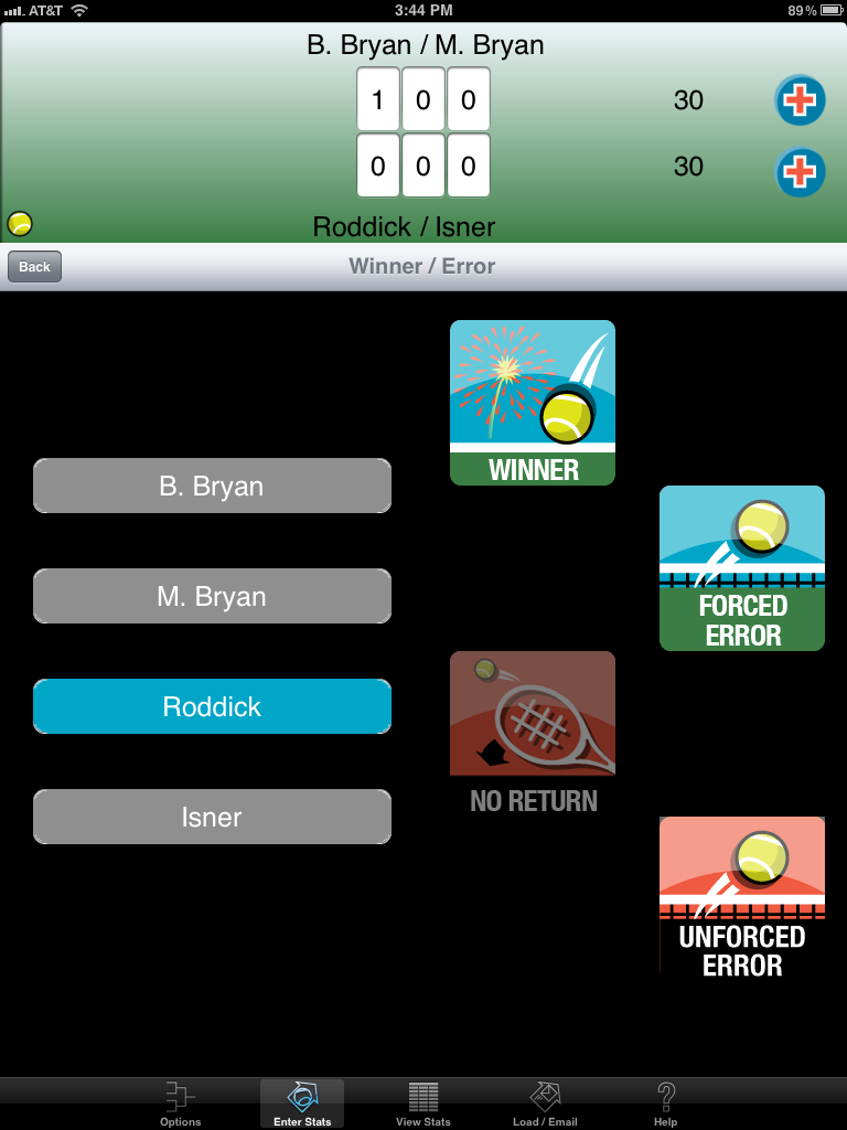 This screen allows the user to select a player to receive the stat, and what type of shot was hit.