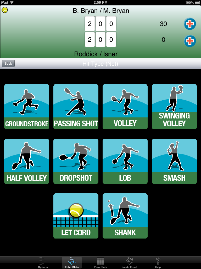 This screen allows you to choose a shot type when the player was at the net